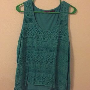 Tank top with front overlay